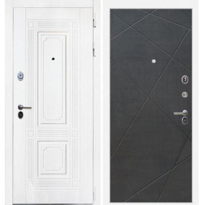 Дверь Интекрон Брайтон Лучи-М (Роял вуд белый / Венге распил кофе)