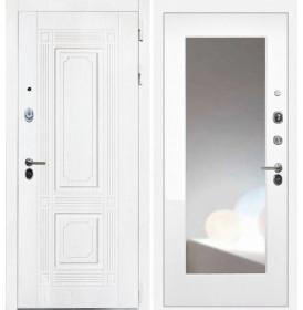 Дверь Интекрон Брайтон ФЛЗ-М с зеркалом (Роял вуд белый / Белая матовая)