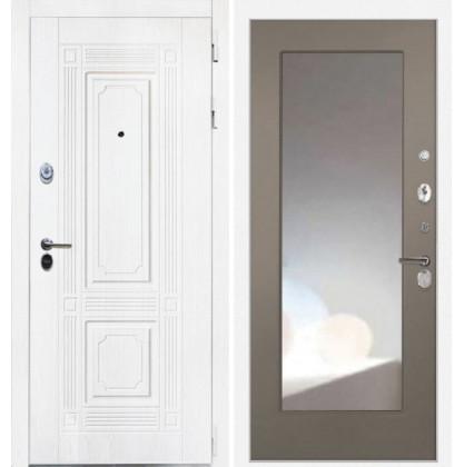 Дверь Интекрон Брайтон ФЛЗ-М с зеркалом (Роял вуд белый / Силк муссон)