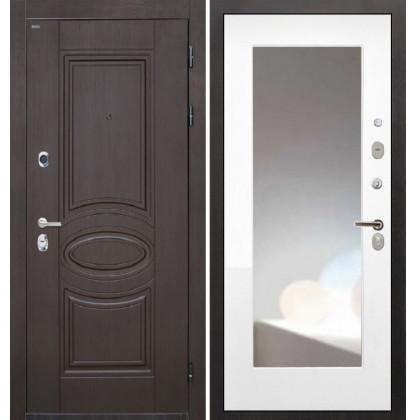 Дверь Интекрон Олимпия Венге ФЛЗ-М с зеркалом (Белая матовая)