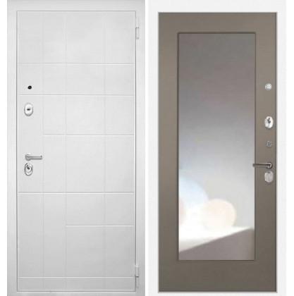 Дверь Интекрон Спарта Белая ФЛЗ-М с зеркалом (Силк муссон)
