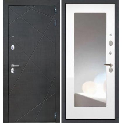 Дверь Интекрон Сенатор Лучи ФЛЗ-М с зеркалом (Белая матовая)